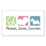 Peace, Love, Scotties Sticker (Rectangle 10 pk)