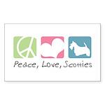 Peace, Love, Scotties Sticker (Rectangle 50 pk)