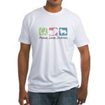 Peace, Love, Shelties Fitted T-Shirt