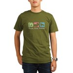 Peace, Love, Shelties Organic Men's T-Shirt (dark)