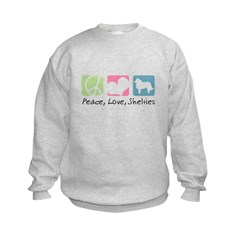 Peace, Love, Shelties Kids Sweatshirt