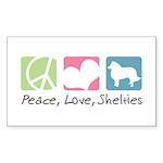 Peace, Love, Shelties Sticker (Rectangle 50 pk)