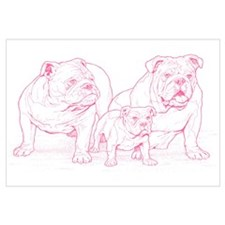 Bulldog Family Pink