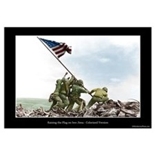 Raising the Flag on Iwo Jima - Colorized (12x9)