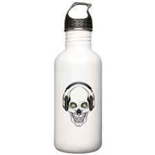 Green Eye DJ Skull Water Bottle