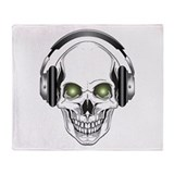 Green Eye DJ Skull Throw Blanket