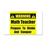 WARNING: Math Teacher 1 Car Magnet 20 x 12