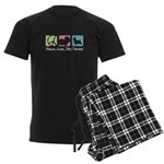 Peace, Love, Silky Terriers Men's Dark Pajamas