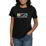 Peace, Love, Silky Terriers Women's Dark T-Shirt