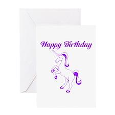 Birthday Unicorn. Purple. Greeting Card