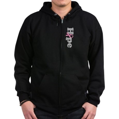 Hope Breast Cancer Zip Hoodie (dark)