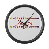 Jazlyn with Flowers Large Wall Clock