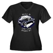 Saturn Sky Women's Plus Size V-Neck Dark T-Shirt