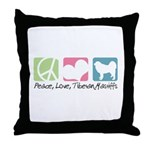 Peace, Love, Tibetan Mastiffs Throw Pillow