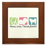 Peace, Love, Tibetan Mastiffs Framed Tile