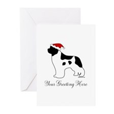 Landseer Santa - Your Text Greeting Cards (Pk of 2