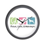Peace, Love, Weimaraners Wall Clock