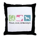 Peace, Love, Weimaraners Throw Pillow