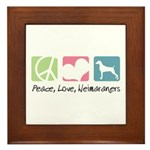 Peace, Love, Weimaraners Framed Tile