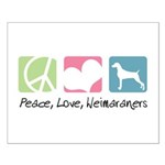 Peace, Love, Weimaraners Small Poster