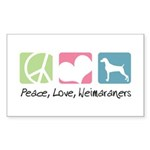 Peace, Love, Weimaraners Sticker (Rectangle 50 pk)
