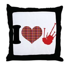 I Heart Bagpipes Throw Pillow