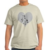 Black Unicorn, Gray Heart T-Shirt