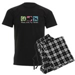 Peace, Love, Fox Terriers Men's Dark Pajamas