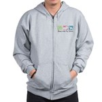 Peace, Love, Fox Terriers Zip Hoodie
