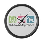 Peace, Love, Fox Terriers Large Wall Clock