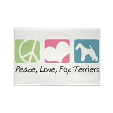 Peace, Love, Fox Terriers Rectangle Magnet