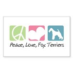 Peace, Love, Fox Terriers Sticker (Rectangle 50 pk