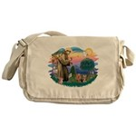 St. Francis / 2 Yorkies Messenger Bag