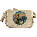 St Francis/3 dogs Messenger Bag