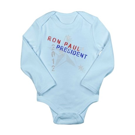 Ron Paul 4 President Long Sleeve Infant Bodysuit