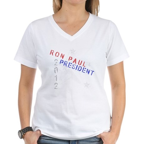 Ron Paul 4 President Women's V-Neck T-Shirt