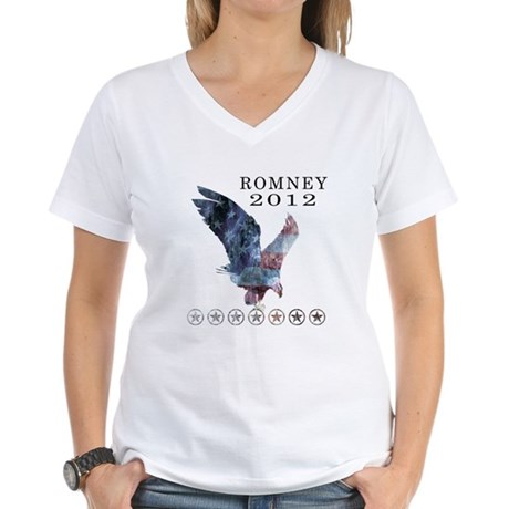 Mitt Romney 2012 Women's V-Neck T-Shirt