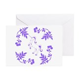 Purple Unicorn, Floral Scrolls. Greeting Cards (Pk