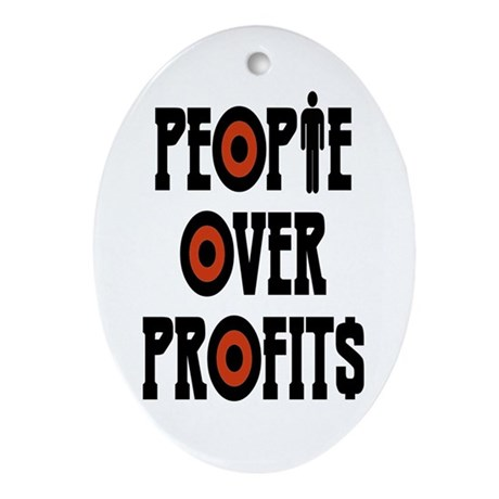People Over Profits Ornament (Oval)