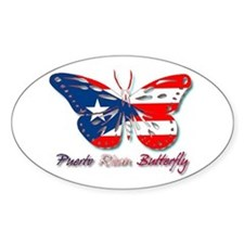 Puerto Rican Butterfly Oval Decal
