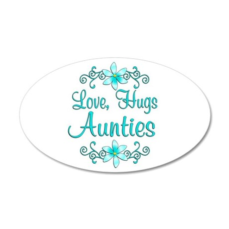 Love Hugs Aunties 38.5 x 24.5 Oval Wall Peel