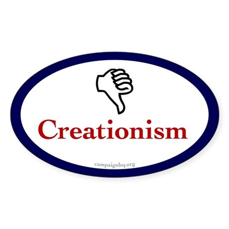 Thumbs Down for Creationism Oval Sticker