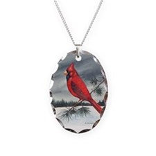 Cardinal on Pine Necklace