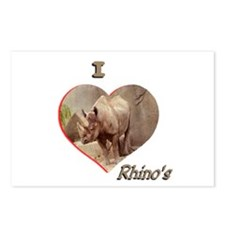 I Love Rhino's Postcards (Package of 8)