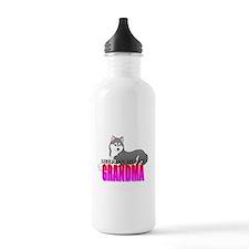 Gray Siberian Husky Grandma Water Bottle