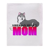 Gray Siberian Husky Mom Throw Blanket