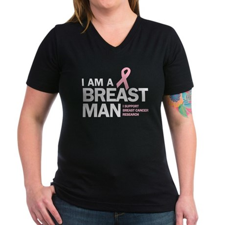 Breast Man Women's V-Neck Dark T-Shirt