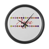 Amya with Flowers Large Wall Clock