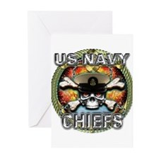 US Navy Chiefs Skull Greeting Cards (Pk of 10)