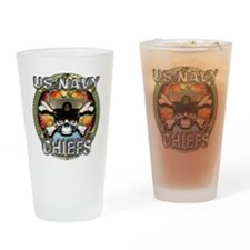 US Navy Chiefs Skull Drinking Glass